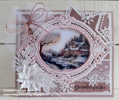 Anja Zom kaartenblog Die Cut Christmas Cards, Beautiful Christmas Cards, Xmas Cards, Shabby Chic Christmas, Handmade Christmas, Christmas Crafts, Marianne Design Cards, Tattered Lace Cards, Embossed Cards