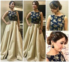 Hina Khan& contemporary outfit is major wedding season inspiration! Indian Gowns Dresses, Evening Dresses, Prom Dresses, Party Wear Indian Dresses, Peplum Dresses, Brocade Dresses, Skater Dresses, Casual Dresses, Formal Dresses