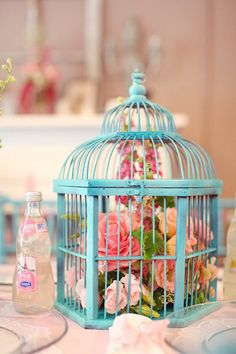 Pink and Tiffany blue rustic bird cage for spring weddings