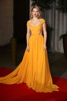 Inspired by Léa Seydoux Celebrity Dresses Yellow A Line Chiffon Cap Sleeve Pleat Evening Prom Dress · MrTang · Online Store Powered by Storenvy Celebrity Red Carpet, Celebrity Dresses, Celebrity Style, Celebrity News, Pretty Dresses, Beautiful Dresses, Gorgeous Dress, Evening Dresses, Prom Dresses