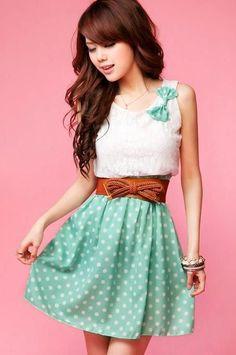 Vestido de Bolinhas Verde <3 this website www.sammydress.com