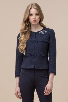 Textured wool jacket with stone embroidery Luisa Spagnoli