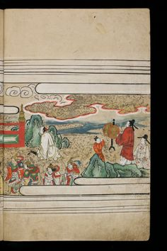 Japenese manuscript representing the Life of Buddha (Shaka no Honji). It's a Nara picture book. The characters wear white or red kimono. Four soldiers on the left are wearing armor.  The sky is full of clouds. There's a kid. #Japan #Manuscript #picturebook #buddha #armor