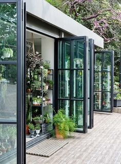 The more windows the better! Love the indoor outdoor feel and nature mixed with living. Pergola Designs, Landscaping Design, Garden Landscaping, Windows And Doors, French Doors With Screens, French Windows, Steel Windows, Steel Doors, My House