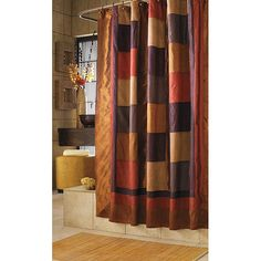 Add Some Southwestern Color To The Bathroom With This Color Block Shower  Curtain. Created In Brown, Deep Purple And Rusty Orange Colors, The Machinu2026