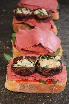Pastrami Panini with Blue Cheese Stuffed Dates in the Middle