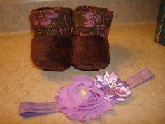 Baby Booties and a Headband to match, in purple and brown by RusticAttitude on Etsy
