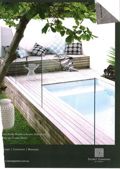 raised pool decking around small pool / outdoor area