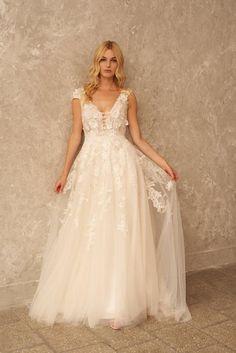 Blush Wedding Dress Lace Boho Wedding Dress Cap Sleeve | Etsy