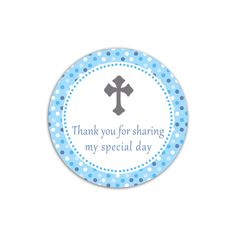 Instant Blue Polka Dots Christening Thank You Tag Holy Communion Party Favor Decorations Decoration By Pinkthecat