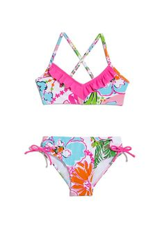 7f59f90899 LillyPulitzerforTarget_girls bikini with hot pink ruffle trim and bows Girl  Online, Baby Swag, Lilly