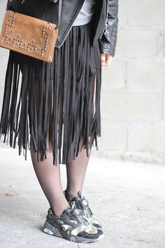 Jupe à franges fringed skirt sneakers puma disc blaze