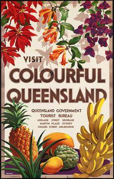 "c.1930s ""Come visit Queensland Australia!"" Travel Poster- -Antique-Old-Vintage Reproduction Photograph/Photo: Gicclee Print. Frame it!"