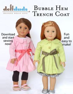 American Girl Doll Clothes Bubble Hem Trench Coat Pattern $3.99