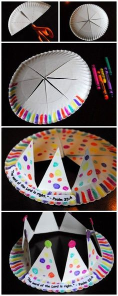 Paper plate crown craft - would be cute to make these at a birthday party, apart from the weird prayer!