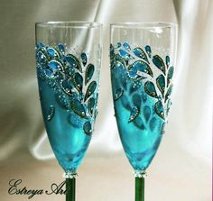 Peacock wedding hand painted champagne flutes toasting