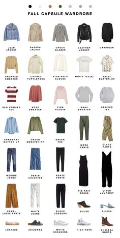 Fall 2017 capsule wardrobe I'm jumping the gun, calendar-wise, a bit with fall this year because a) I think it makes more sense. Mentally, my summer ends in August. And b) I planned this capsule way early and was too excit… Minimalist Wardrobe, Minimalist Fashion, Fall Outfits, Casual Outfits, Fashion Outfits, 2000s Fashion, Style Fashion, Fashion Design, Capsule Wardrobe Mom