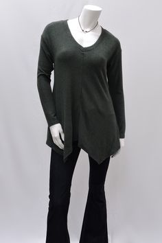 V Neck Asymmetrical Hem Sweater