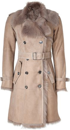 BURBERRY LONDON Belted Shearling Hadston Coat