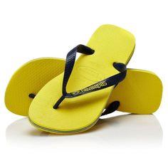 50fe4fa21 Havaianas Brasil Logo Flip Flops - Citrus Yellow Blue Flip Flops