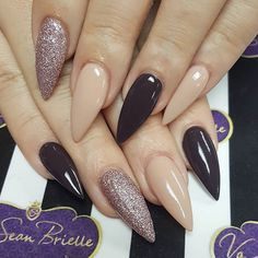 Black and Nude Nails with Glitter Gorgeous Nails, Love Nails, How To Do Nails, Pretty Nails, My Nails, Colorful Nail Designs, Nail Art Designs, Nagel Stamping, Manicure