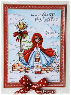 Make it Crafty Store – Red Coloring – Miss Hood by Franz :) Copic Markers, Colouring, Red Color, Handmade Cards, Cardmaking, Stamps, Girly, Crafty, Christmas Ornaments