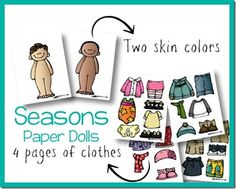 Paper Dolls for the Seasons Printable (with 4 different paper dolls) from Royal Baloo