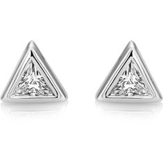 Central Trillion Stud Earrings ($18) ❤ liked on Polyvore featuring jewelry, earrings, sparkle jewelry, sparkly earrings, stud earrings, studded jewelry and rhodium plated earrings
