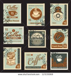 Find Set Stamps On Theme Coffee stock images in HD and millions of other royalty-free stock photos, illustrations and vectors in the Shutterstock collection. Vintage Scrapbook, Vintage Stamps, Vintage Paper, Journal Stickers, Scrapbook Stickers, Planner Stickers, Printable Stickers, Cute Stickers, Postage Stamp Design