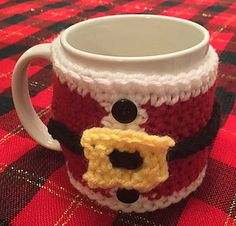 Santa Coffee Cup Cozy ~ free pattern