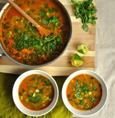 Perfectly, mildly spiced curried lentil soup. Healthy, hearty and filled with some surprises like raisins and coconut milk.
