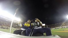 Marshawn Lynch riding around in a cart at the Cal game.  Classic BeastMode.