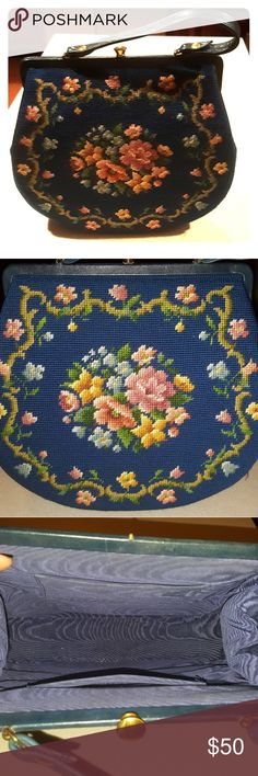 BLUE flowered giant vintage purse So roomy & Beautiful.  Excellent condition.Rockabilly. Vintage Bags Satchels