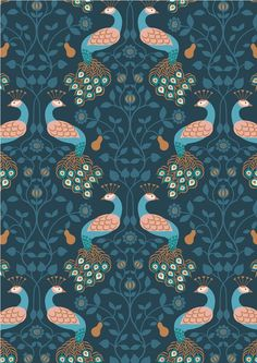 By Lewis and Irene. This sumptuous new range from Lewis & Irene takes its inspiration from grand country houses. Printed by Lewis & Irene on premium quality wide cotton fabric. This fabric is sold by the fat quarter. Peacock Pattern, Peacock Art, Dressmaking Fabric, Thing 1, Navy Blue Background, Blue Fabric, Cotton Fabric, Surface Pattern Design, Fabric Design