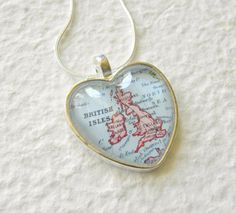 World Traveler Heart Shaped Map Necklace  by TheGreenDaisyShop