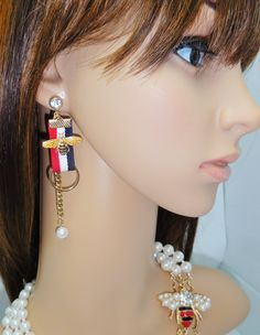 f35d16b3e7e Gucci Inspired Bee Dangle Earrings Red White Blue Stripe Ribbon Rhinestone  Pearl   Gold Accent by