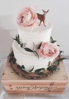 Baby Shower Cake Nova Anne& Birthday - Deer woodland theme cake - simple 2 tier with Rus. Boho Baby Shower, Deer Baby Showers, Baby Shower Cake For Girls, Simple Baby Shower Cakes, Woodland Baby Shower Decor, Baby Shower Flowers, Babyshower Themes For Girls, Girly Baby Shower Themes, Girl Shower Cake
