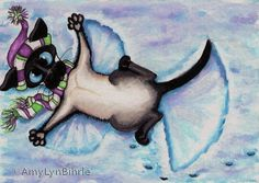 Siamese Cat Winter Snow Angel Art - Print by AmyLyn Bihrle Crazy Cat Lady, Crazy Cats, Siamese Cats, Cats And Kittens, Cat Paws, Dog Cat, Image Chat, Gatos Cats, Winter Painting