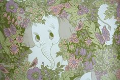 1970's Retro Wallpaper - Vintage Elephant in Jungle with Pink Flowers on Etsy, $18.00