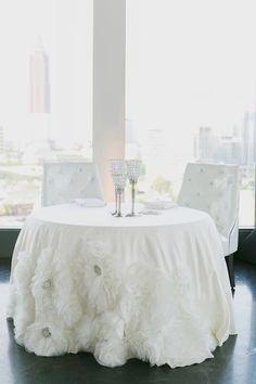 Atlanta City Wedding by Park Avenue Events - Southern Weddings Petals Florist, Atlanta City, Purple And Silver Wedding, White Centerpiece, Wedding Shower Decorations, Wedding Linens, Sweetheart Table, Southern Weddings, Atlanta Wedding