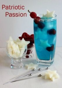 Our Patriotic Passion Cocktail has cool refreshing flavors. Mix it by the glass or pitcher. ~ http://veganinthefreezer.com
