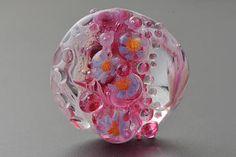 Pink Flowers Bead Glass lampwork bead Focal Glass Bead