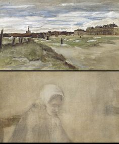 """Bleachery at Scheveningen (recto); Woman from Scheveningen (verso),"" Vincent van Gogh, 1882. Watercolor heightened with white gouache. 
