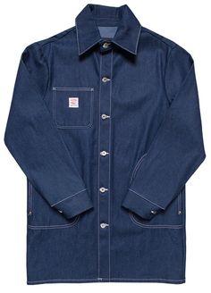 Indigo Denim Long Jacket with 1/2 Circle Pockets