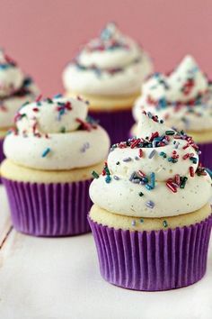 Cream Cupcakes with Sprinkles.