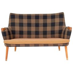 Hans J. Wegner, Two-Seat Sofa, Model AP-20 for AP-Stolen in original wool ca.1954 | From a unique collection of antique and modern loveseats at https://www.1stdibs.com/furniture/seating/loveseats/