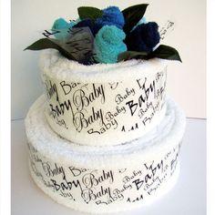 "Baby ""Towel"" cake instead of diaper cake! I like this!"