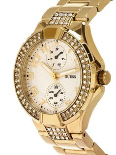 women watches | Best Gold watches for women Guess LGuess Women's U13002L1 Gold Gold Tone Stainles-Steel Quartz Watch with White Dial
