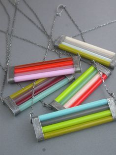 glass necklace glass cane bright oxidized sterling geometric linear modern bold eclectic jewelry seafoam green merlot opal olive wearable. $140.00, via Etsy.