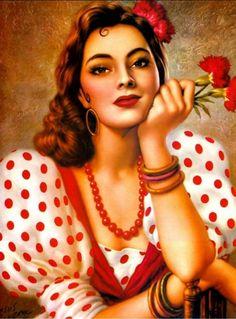 Artwork by Jesus Helguera Mexican painter. Mexican Artwork, Mexican Paintings, Mexican Folk Art, Latino Art, Spanish Woman, Calendar Girls, Chicano Art, Jolie Photo, Pin Up Art